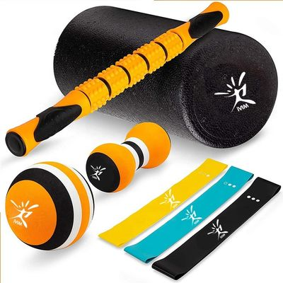 Latex Massage Roller Stick Set Foam Roller , Massage Ball Resistance Loop Bands
